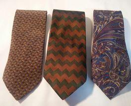 Geoffrey Beene Mens 3 Ties + CashMe Green Plaid Acrylic Scarf Handmade Silk Tie image 12