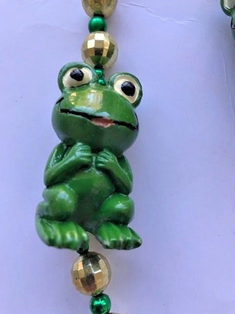 Frogs Beaded Necklace VTG July 4th Parade Pool Party NOS Fantasy Fest Mardi Gras