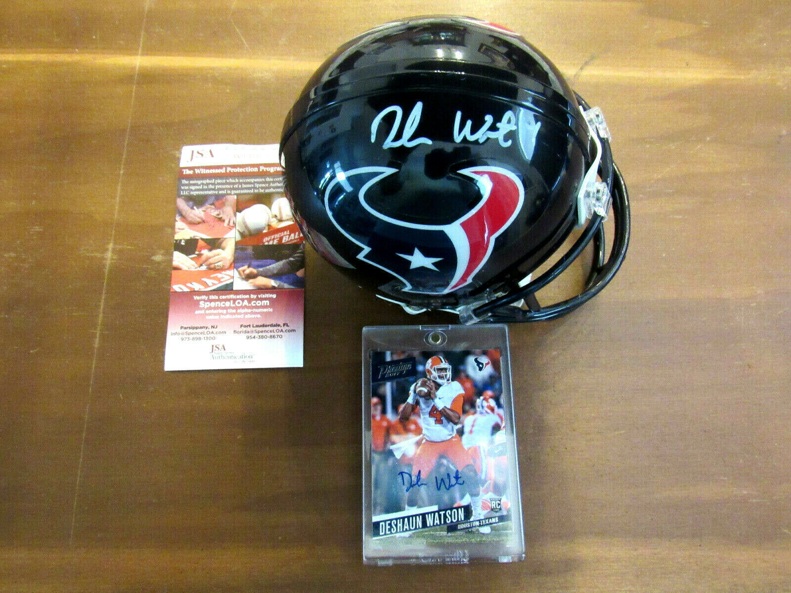 Primary image for DESHAUN WATSON HOUSTON TEXANS SIGNED AUTO MINI HELMET PLUS 2017 PANINI CARD JSA