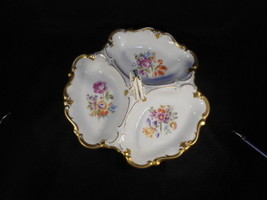 Vintage German Divided Porcelain Nut Candy Dish HP with Heavy Gold Detai... - $79.15