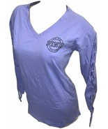 Victoria's Secret Pink Campus V-Neck Lace Up on Side XSmall Purple Overs... - $52.83