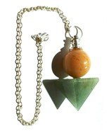 Green Avanturine Ball Pyramid Crystal Pendulum w/Chakra Chain Reiki Heal... - $8.99
