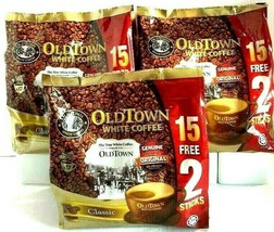 Old Town 3-In-1 Instant Classic White Coffee 15 Sticks x 38g ( Pack of 3 ) - $34.64