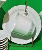 8 Vintage Winterling Kimberly Bavarian cup saucer sets embossed rose mint - $45.00