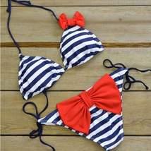Push Up Triangular Bow Tie Women Bikini Set - $19.52