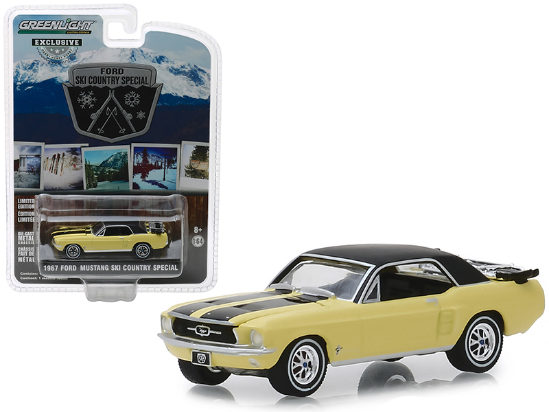 "1967 Ford Mustang Coupe Yellow with Black Stripes and a Pair of Skis ""Ski Count"