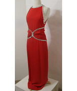 CAROLYN ROEHM Red Silk Heavy Jeweled Ruched Sleeveless Gown Model Length S - $269.99