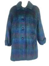 Appleseed's Mohair Blue & Purple Plaid Coat Size 14 - $59.39