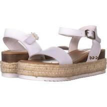 Steve Madden Chiara Ankle Strap Platform Sandals 625, White Leather, 7.5 US - $23.99