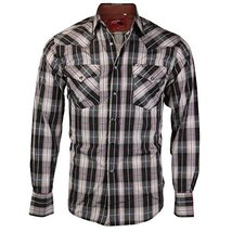 Rodeo Clothing Co. Men's Western Cowboy Pearl Snap Long Sleeve Plaid Shirt (Smal