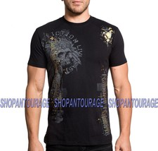 Affliction Soul Saint A19040 New Short Sleeve Graphic Black T-shirt for Men - $54.95