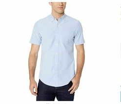 Essentials Men's Slim-Fit Short-Sleeve Pocket Oxford Shirt, Blue, Large NEW - $11.29