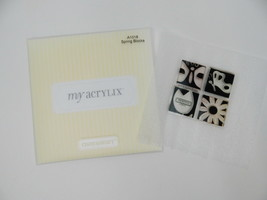 Close To My Heart Acrylix Stamp Set A1018 Spring Blocks Butterfly Flower Tulip - $9.89