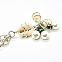 Necklace the Aluminium Long 48 Inch with Seashells Hematite & Pearl White image 7
