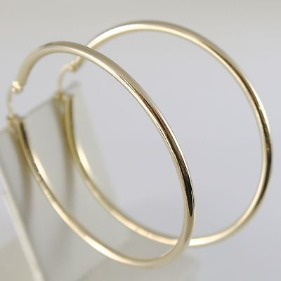 18K YELLOW GOLD ROUND CIRCLE EARRINGS DIAMETER 40 MM, WIDTH 2 MM, MADE IN ITALY