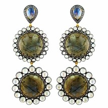 Labradorite Gemstone 14 K Gold Pave Diamond Dangle Earrings Moonstone Si... - $1,698.18