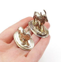 925 Sterling Silver - Vintage 2 Pcs Petite Sculpted Bull Ornament Statue... - $66.10