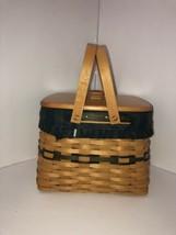 Longaberger 1998 Collectors Edition Harbor Basket.Plaid Cloth Plastic Li... - $49.50