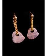 John C Rinker 14k Yellow Gold earrings - Vintage rose quartz pink HEART ... - $325.00