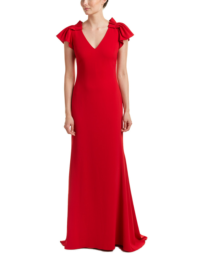 Badgley Mischka Women's Red Pleated Cap Sleeve Gown