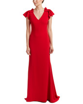 Badgley Mischka Women's Red Pleated Cap Sleeve Gown image 1