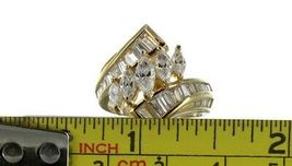 Vintage Ladies Size 6 Gold Plated Sterling Silver CZ Fashion Ring No. 2144 image 7
