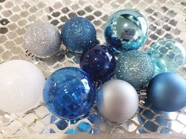 Coastal Beach Christmas MINI Plastic Ball Aqua Blue Ornaments Set of 10 - $10.99