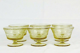 Vintage Set of 6 Federal Depression Footed Yellow Sherbet Glass 4 Oz - $39.59