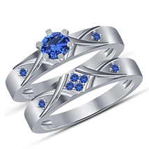 Round Cut Blue Sapphire White Gold Over Pure 925 Silver Bridal Wedding Ring Set - $89.99