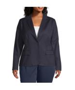 Liz Claiborne Long Sleeve One Button Blazer Plus Size 3X Msrp $72.00 Navy - $29.99