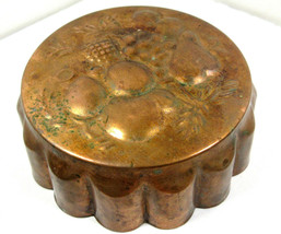 """Vintage 8"""" Copper Tin Lined Jelly Jello Cooking Mold Scalloped Fruit Wal... - $9.85"""