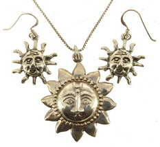 """Vintage Sterling Stylized Sun Pendant Necklace & Pierced Earrings 18"""" - $101.24"""