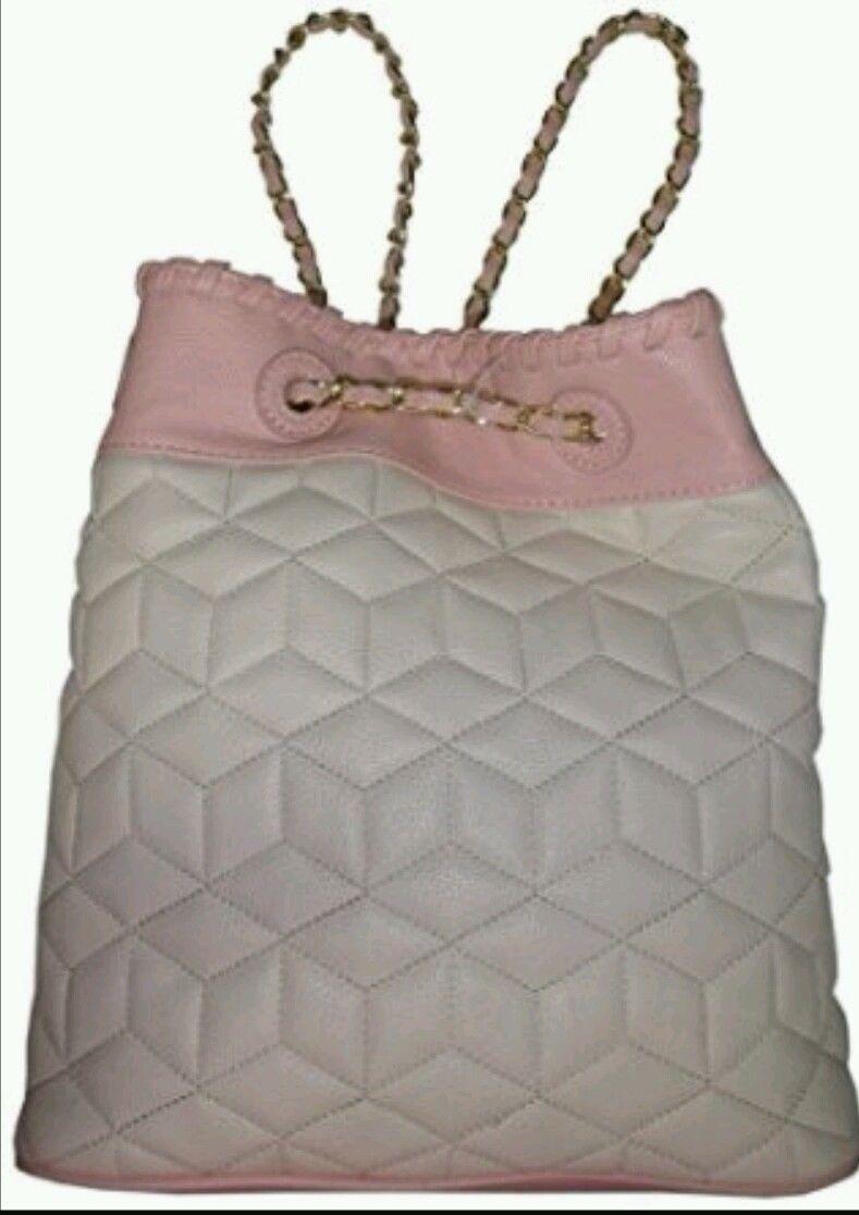 NWT Big Buddha woman's purse handbag backpack style. Gold chain cream pink blush