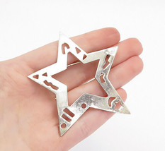 MEXICO 925 Sterling Silver - Vintage Cutout Pattern Open Star Brooch Pin... - $36.28