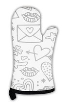 Oven Mitt, Simple Hand Drawn Gray Love Doodles Isolated On White Pattern - $24.50+