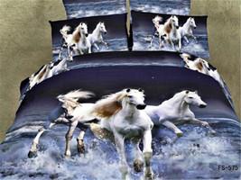 3D White Horse Comforter Quilt Cover Flat Sheet Bedding Set Duvet Cover ... - $79.19
