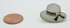Late 1970's Early 1980's Woman's Gray Black Enamel Bucket Hat Lapel Pin C - $5.94