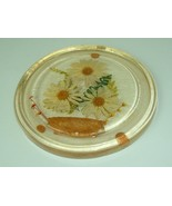 Vintage Gamut Designs Lucite resin Yellow Daisies Floral Round Trivet 70s - $11.95