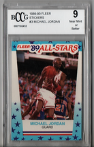 1989 Fleer Stickers Michael Jordan #3 BCCG Beckett 9 HS97 - $54.11