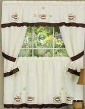 Kitchen Curtains Embellished Cottage Set, COFFEE CUPPA JOE by Achim - $21.77