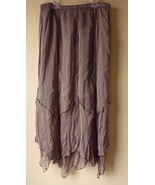 TEA & SCONES Brown Elastic Waist HANDKERCHIEF Long Skirt Large USA - $24.07