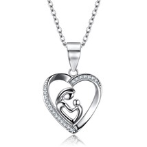 Mother and Child Love Heart Pendant Necklace Sterling Silver 925 Cubic Z... - $76.04