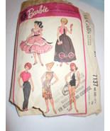 Vintage McCall's Barbie Size Wardrobe #7137 1963 - $3.99