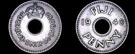 1940 Fiji Islands 1  Penny World Coin - George VI - $15.75
