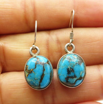 925 Sterling Silver - Vintage Cabochon Cut Turquoise Oval Dangle Earring... - $26.20