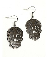 Mexican Sugar Candy Skull Hook Day of the Dead Earrings Large - £13.68 GBP