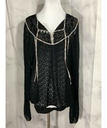 Free People Knit Crochet Top Lace Neckline With Floral Piping Wrists Nec... - $43.56