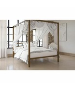 Queen Size Dark Gold Metal Canopy Bed Frame Headboard Modern Bedroom Fur... - $257.39