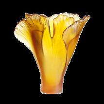 Daum  Large amber Ginkgo Vase Crystal  03409-3 France - $3,841.20