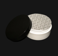 2 Plastic Cosmetic White Jars Low Profile Wide Mouth Black Lid & Seal 2 ... - $10.95